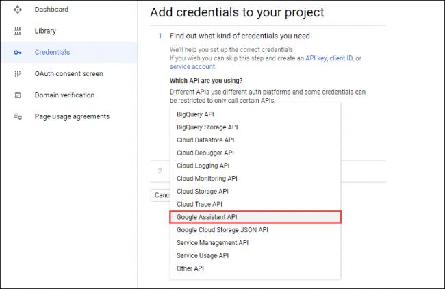 """Wählen """"Google Assistant API"""" in dem """"Welche API verwenden Sie?"""" Dropdown-Menü."""