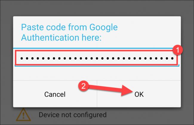 """Fügen Sie den Authentifizierungscode ein und tippen Sie anschließend auf """"OK."""""""