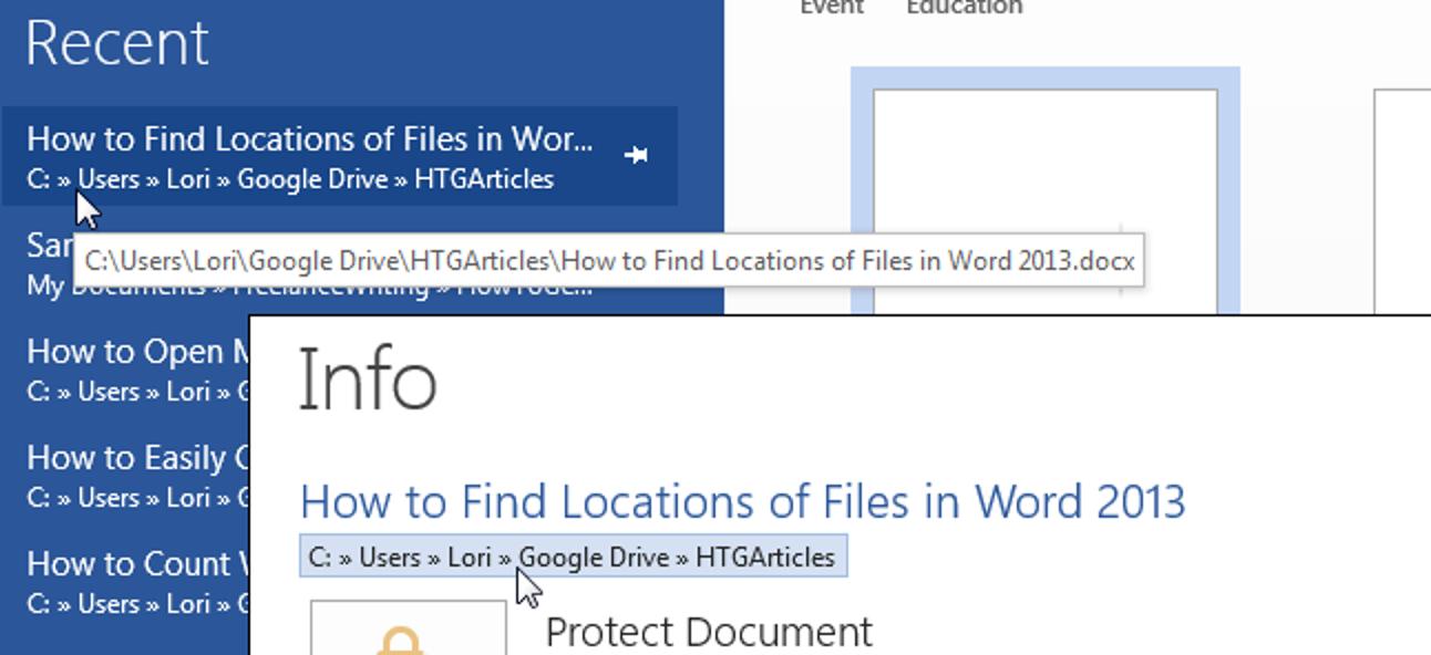 So finden Sie Speicherorte von Dateien in Word