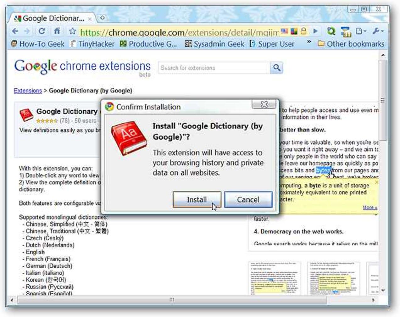 Fügen Sie Google Dictionary Power zu Chrome hinzu