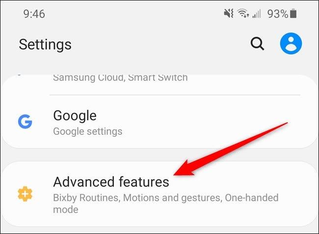 """Samsung Galaxy S20 Wählen Sie die """"Erweiterte Funktionen"""" Möglichkeit"""
