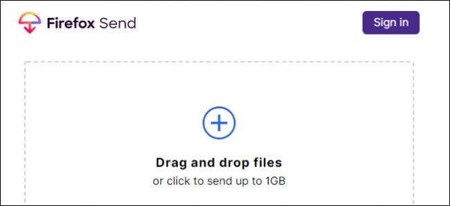 Firefox Send-Schnittstelle