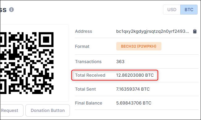 Anzeigen, wie viel BTC ein Bitcoin-Konto erhalten hat.