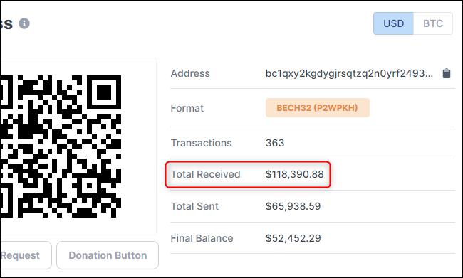 Finden Sie heraus, wie viel Bitcoin eine Bitcoin-Adresse in USD erhalten hat.