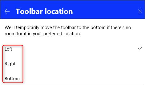 Die Optionen für die Position der Symbolleiste.