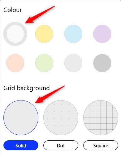 Die Standardoptionen für weiße Farbe und festen Hintergrund.