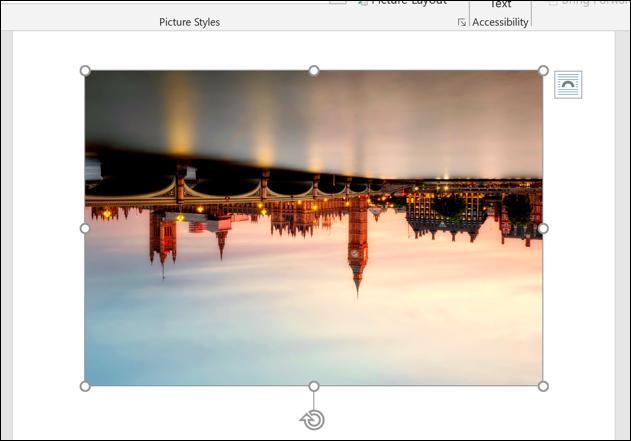 Ein Beispielbild in Microsoft Word, vertikal gespiegelt.