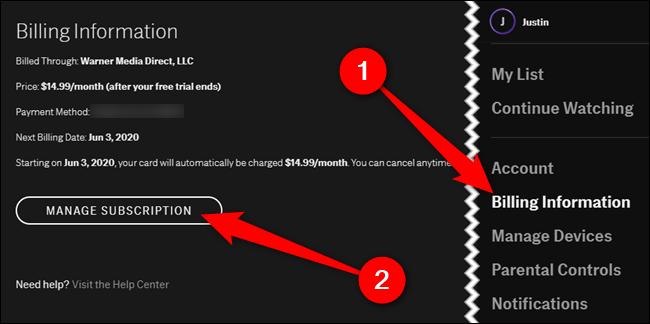 """Wählen Sie das """"Abrechnungsdaten"""" Klicken Sie auf die Registerkarte und dann auf """"Abonnement verwalten"""" Taste"""