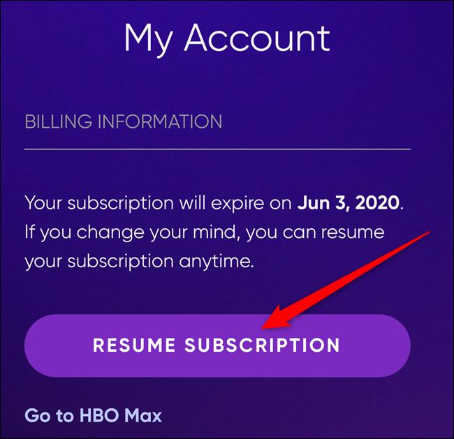 """Drücke den """"Abonnement fortsetzen"""" Schaltfläche, um Ihr Konto wieder zu aktivieren"""