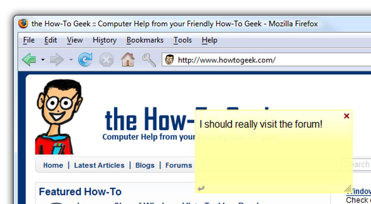 Fügen Sie mit Internote for Firefox Haftnotizen zu jeder Seite hinzu