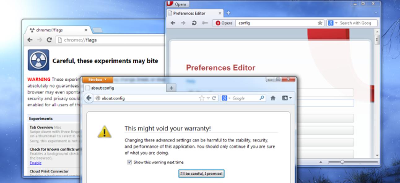 So ändern Sie versteckte erweiterte Einstellungen in einem beliebigen Browser
