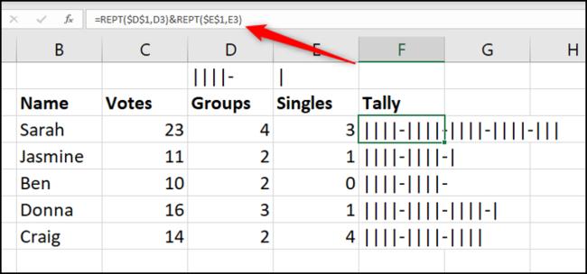 Erstellen Sie mit REPT ein Tally-Diagramm