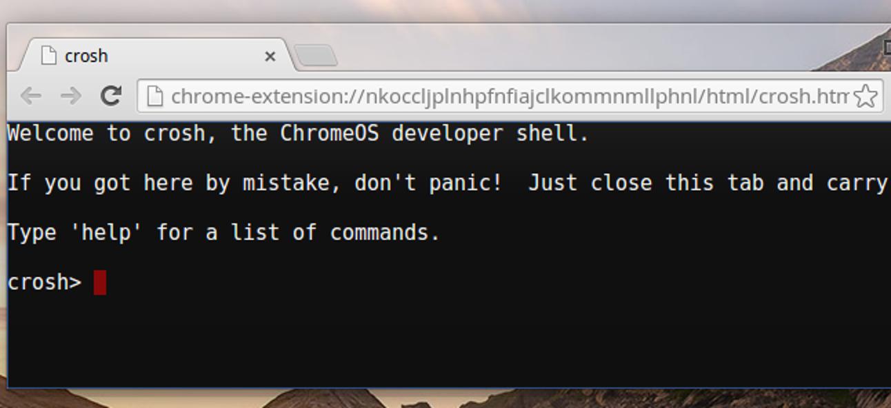 Über 10 Befehle in der Hidden Crosh Shell von Chrome OS enthalten