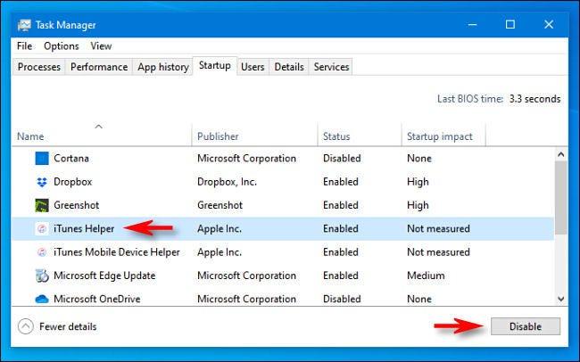 """Deaktivieren Sie auf der Registerkarte Start des Task-Managers """"iTunes Helper."""""""