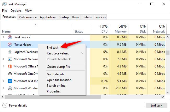 Beenden Sie die iTunes Helper-Aufgabe im Task-Manager.
