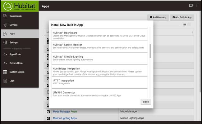 Hubitat Apps-Einstellungen