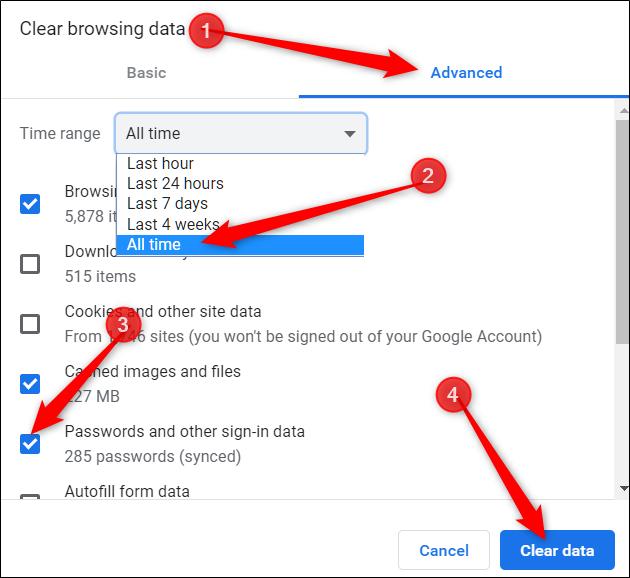 Klicken Sie auf die Registerkarte Erweitert, wählen Sie im Menü die Option Alle Zeiten aus, aktivieren Sie als Option Kennwörter und klicken Sie dann auf Daten löschen