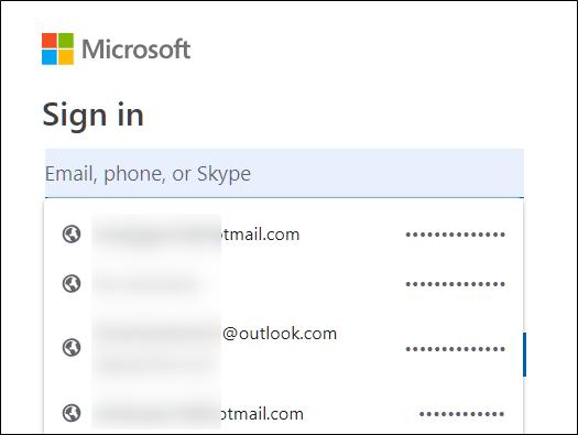Wählen Sie eine Kombination aus Benutzername und Passwort aus der bereitgestellten Liste