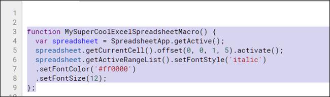 Markieren und kopieren Sie die Makrofunktion mit Strg + C.