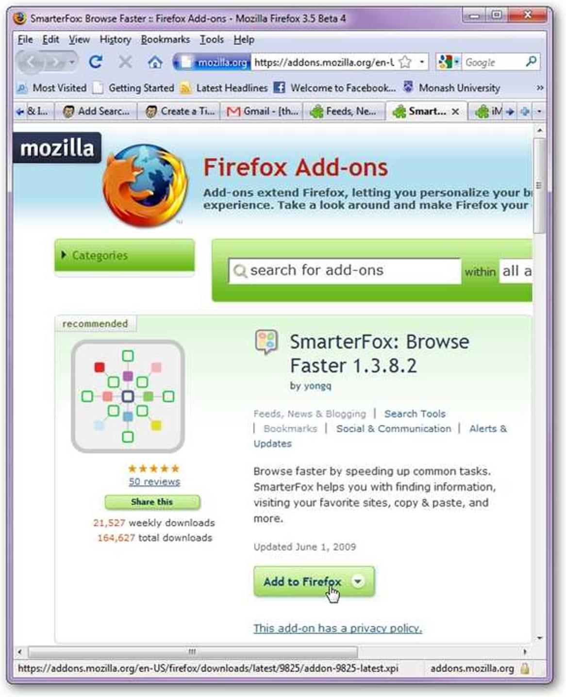 Ersetzen Sie die 'Beschleuniger' des Internet Explorers durch SmarterFox