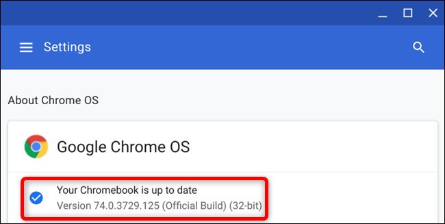 Nach dem Neustart Ihres Chromebooks sehen Sie, dass Ihr Chromebook auf dem neuesten Stand ist, wenn Sie nach Updates suchen