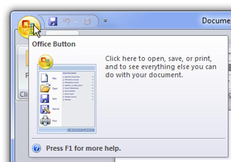 Anzeigen der Informationen zum Dialogfeld und zur Version in Office 2007