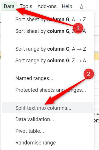 """Klicken Sie auf Daten> Text in Spalten aufteilen"""" width=""""342″ height=""""515″ onload=""""pagespeed.lazyLoadImages.loadIfVisibleAndMaybeBeacon(this);"""" onerror=""""this.onerror=null;pagespeed.lazyLoadImages.loadIfVisibleAndMaybeBeacon(this);""""/></p> <p>In Sheets stehen einige allgemeine Optionen zur Auswahl, wenn Sie Daten in Ihrem Dokument aufteilen, z. B. durch Komma, Semikolon, Punkt und Leerzeichen.  In diesem Beispiel verwenden wir """"Leerzeichen"""" als Trennzeichen, da zwischen unseren Datensätzen ein Leerzeichen vorhanden ist.</p> <p><strong></strong> <strong></strong></p> <p>Klicken Sie auf das Dropdown-Menü und wählen Sie """"Leerzeichen"""" aus der Liste der Trennzeichenoptionen.</p> <p><img class="""