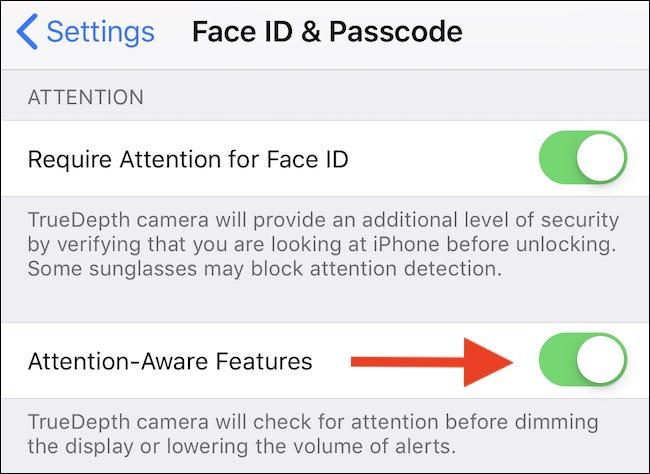 """Schalten Sie die """"Achtung Aware Features"""" Wechseln Sie zu """"AUF"""" Position."""