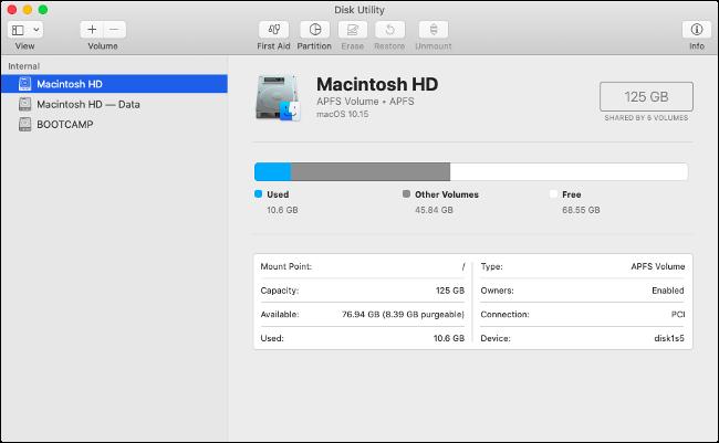 schreibgeschütztes macOS Catalina-Volume im Festplatten-Dienstprogramm sichtbar