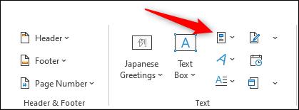 Klicken Sie auf das Symbol Quick Parts erkunden.