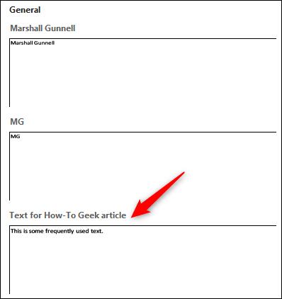 Wählen Sie den AutoText-Eintrag aus, den Sie verwenden möchten.