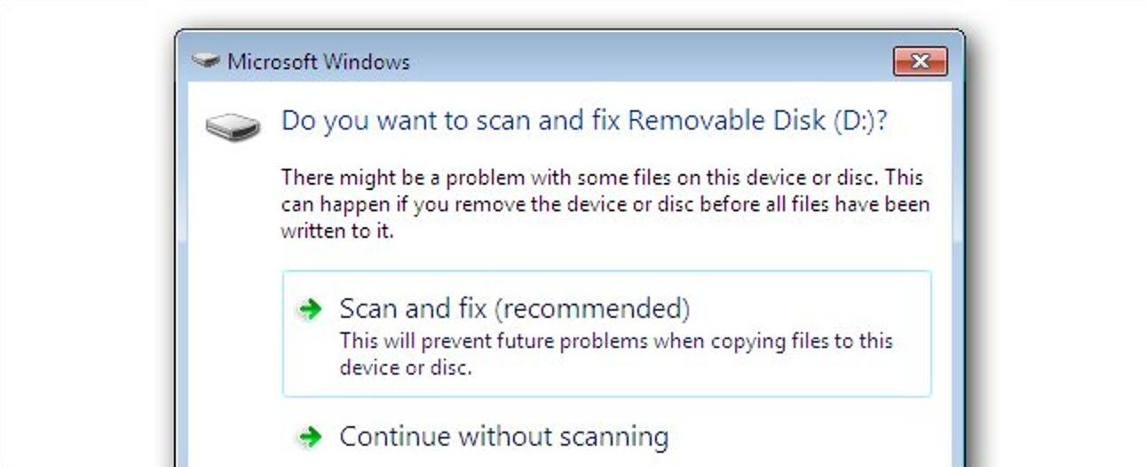 Deaktivieren Sie Scan und Fix für Wechseldatenträger in Windows