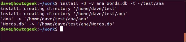 Installieren Sie den Befehl in / test / ana