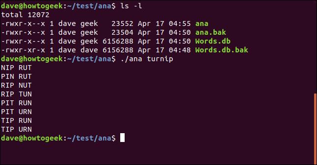 ls in / test / ana mit test für ein Dienstprogramm