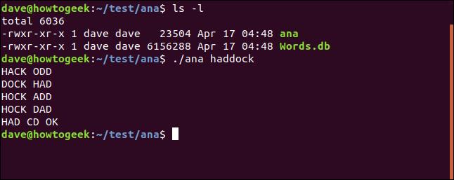 Test eines Dienstprogramms von ana im Verzeichnis / test / ana