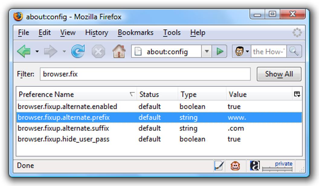 Ändern Sie Strg + Verhalten in Firefox eingeben