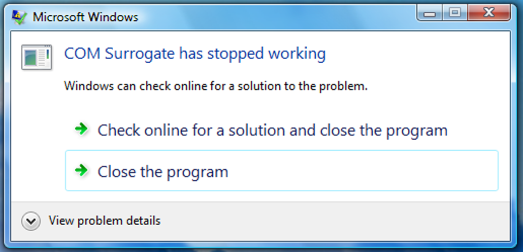 Fix für COM Surrogate hat den Arbeitsfehler in Vista eingestellt