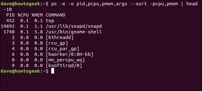 Ausgabe von ps -e -o pid, pcpu, pmem, args --sort -pcpu, pmem    Kopf 10