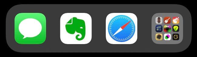Ein Ordner im iOS-Dock.