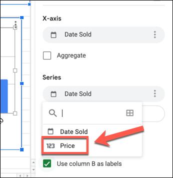 """Um die Y-Achse in einem Google Sheets-Diagramm zu ändern, wählen Sie die erste Spalte aus, die unter aufgeführt ist """"Serie"""" Kategorie in der """"Einrichten"""" Klicken Sie im Diagrammeditor auf die Registerkarte und wählen Sie eine Ersatzspalte aus."""