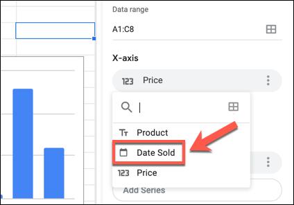 Klicken Sie im Google Sheets Chart Editor-Bedienfeld auf eine Beschriftung der X- oder Y-Achse und wählen Sie dann eine alternative Spalte aus dem Dropdown-Menü aus.