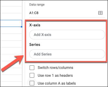 """Klicken """"X-Achse hinzufügen"""" oder """"Serie hinzufügen"""" Hinzufügen einer X- oder Y-Achse zu einem Google Sheets-Diagramm oder -Diagramm im Diagrammeditorbedienfeld."""
