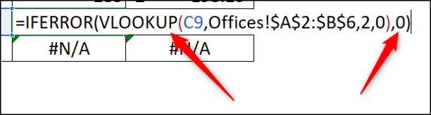 IFERROR-Funktion zur Anzeige von 0 anstelle von Fehler