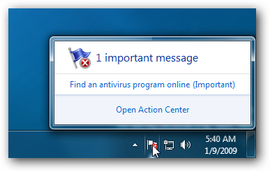 Windows 7 Action Center-Symbol