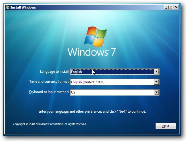 Windows 7-Installationsbildschirm