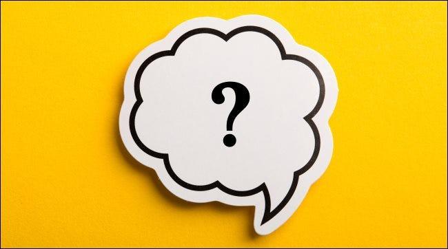 Eine Sprechblase mit einem Fragezeichen.