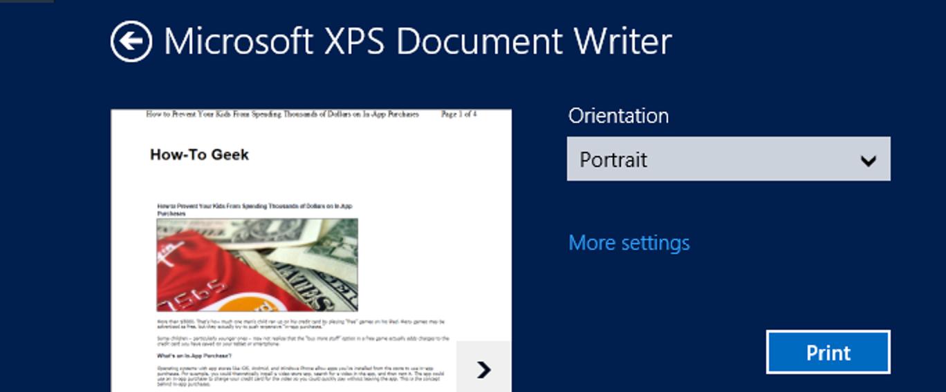 Was ist eine XPS-Datei und warum möchte Windows, dass ich auf einer drucke?