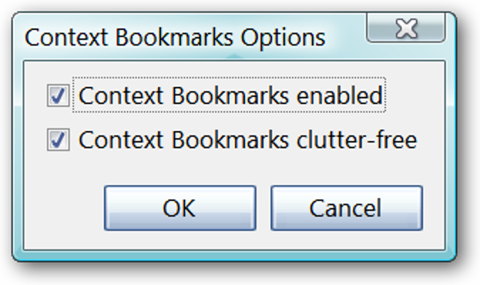 Greifen Sie im Kontextmenü mit Kontext-Lesezeichen auf Ihre Lesezeichen zu