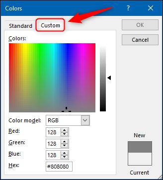 """Drücke den """"Benutzerdefiniert"""" Registerkarte in der """"Farben"""" Speisekarte."""