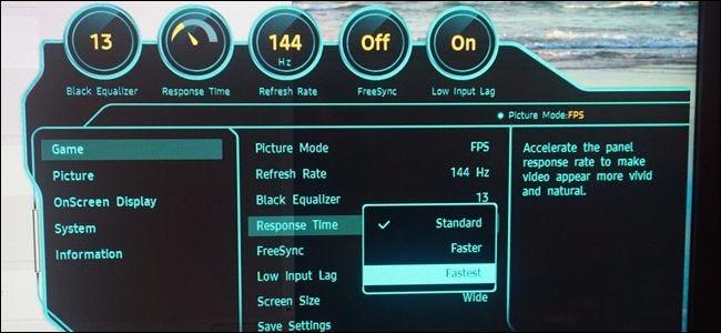 Gaming-Monitore verfügen über spezielle Modi mit niedriger Reaktionszeit.